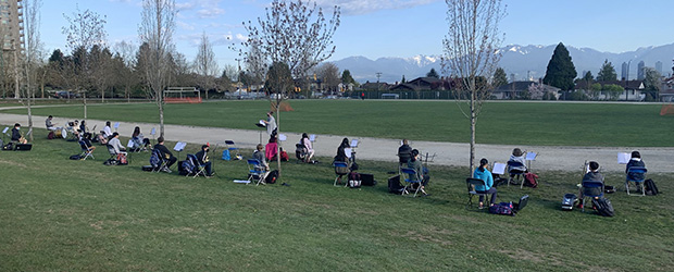 Ms. Hicks and her Grade 7 band students are taking full advantage of this beautiful weather we have been having!